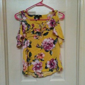 IZ Byer Yellow Floral Ruffly Tank Top